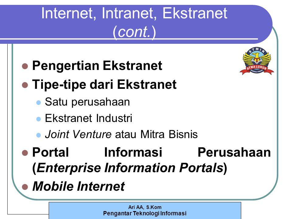 Ari AA, S.Kom Pengantar Teknologi Informasi Internet, Intranet, Ekstranet (cont.) Pengertian Ekstranet Tipe-tipe dari Ekstranet Satu perusahaan Ekstranet Industri Joint Venture atau Mitra Bisnis Portal Informasi Perusahaan (Enterprise Information Portals) Mobile Internet
