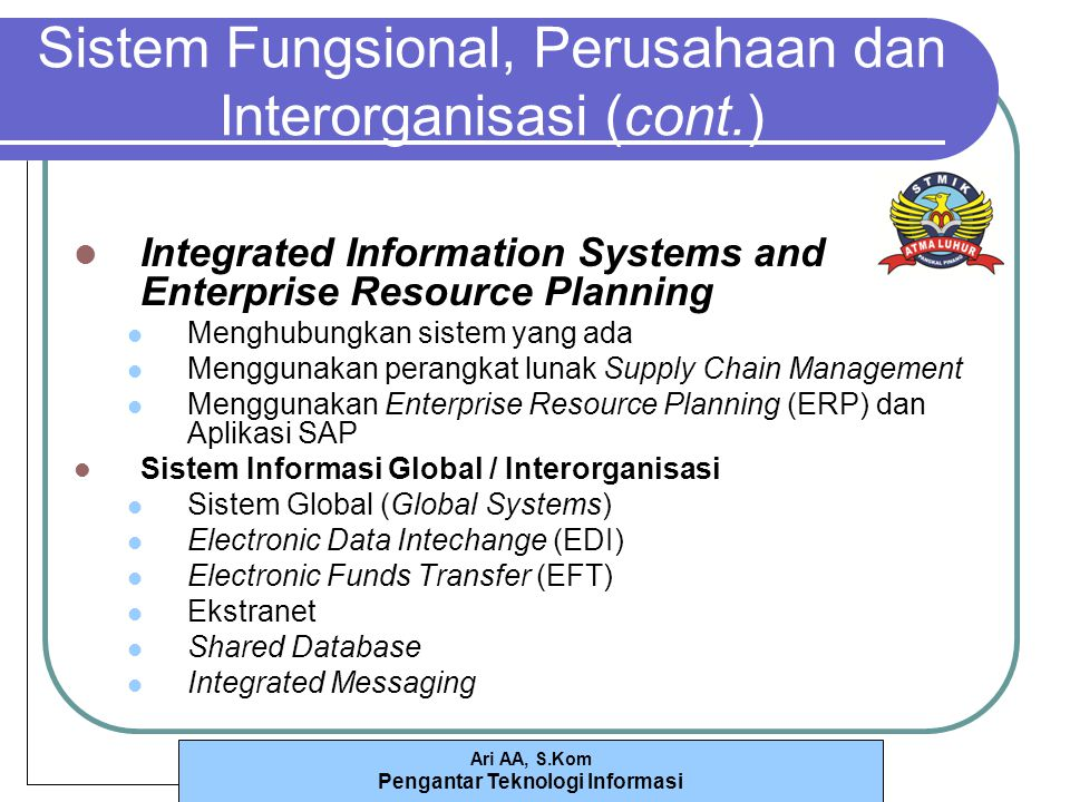 Ari AA, S.Kom Pengantar Teknologi Informasi Sistem Fungsional, Perusahaan dan Interorganisasi (cont.) Integrated Information Systems and Enterprise Re