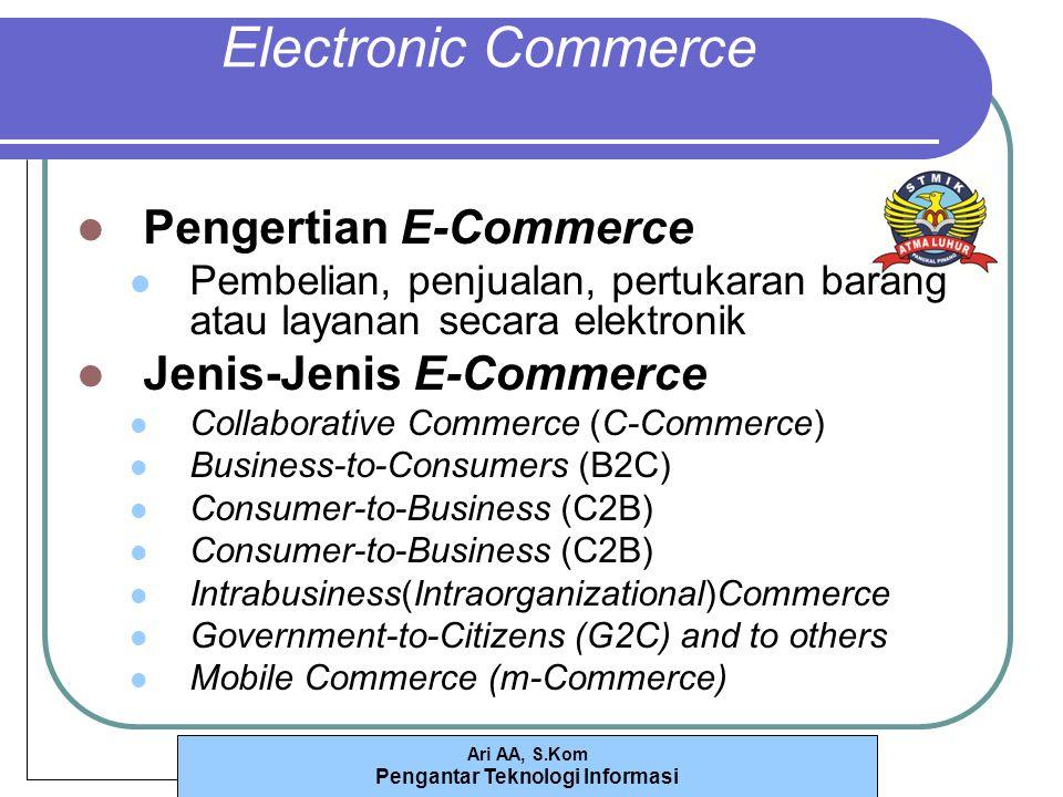 Ari AA, S.Kom Pengantar Teknologi Informasi Electronic Commerce Pengertian E-Commerce Pembelian, penjualan, pertukaran barang atau layanan secara elektronik Jenis-Jenis E-Commerce Collaborative Commerce (C-Commerce) Business-to-Consumers (B2C) Consumer-to-Business (C2B) Intrabusiness(Intraorganizational)Commerce Government-to-Citizens (G2C) and to others Mobile Commerce (m-Commerce)