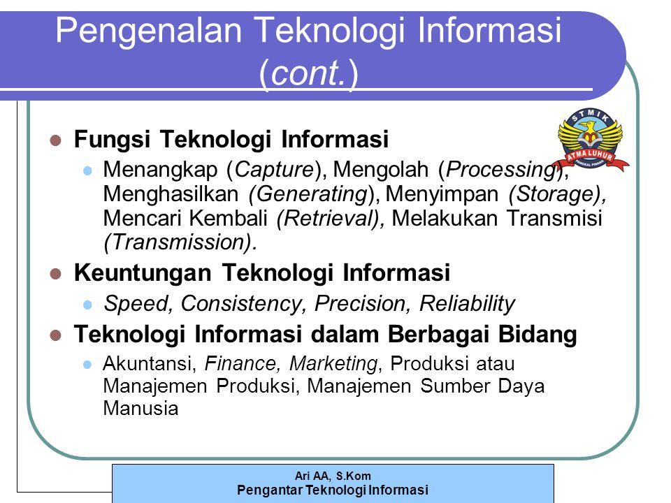 Ari AA, S.Kom Pengantar Teknologi Informasi Pengenalan Teknologi Informasi (cont.) Fungsi Teknologi Informasi Menangkap (Capture), Mengolah (Processing), Menghasilkan (Generating), Menyimpan (Storage), Mencari Kembali (Retrieval), Melakukan Transmisi (Transmission).