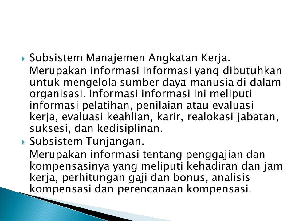  Subsistem Manajemen Angkatan Kerja. Merupakan informasi informasi yang dibutuhkan untuk mengelola sumber daya manusia di dalam organisasi. Informasi