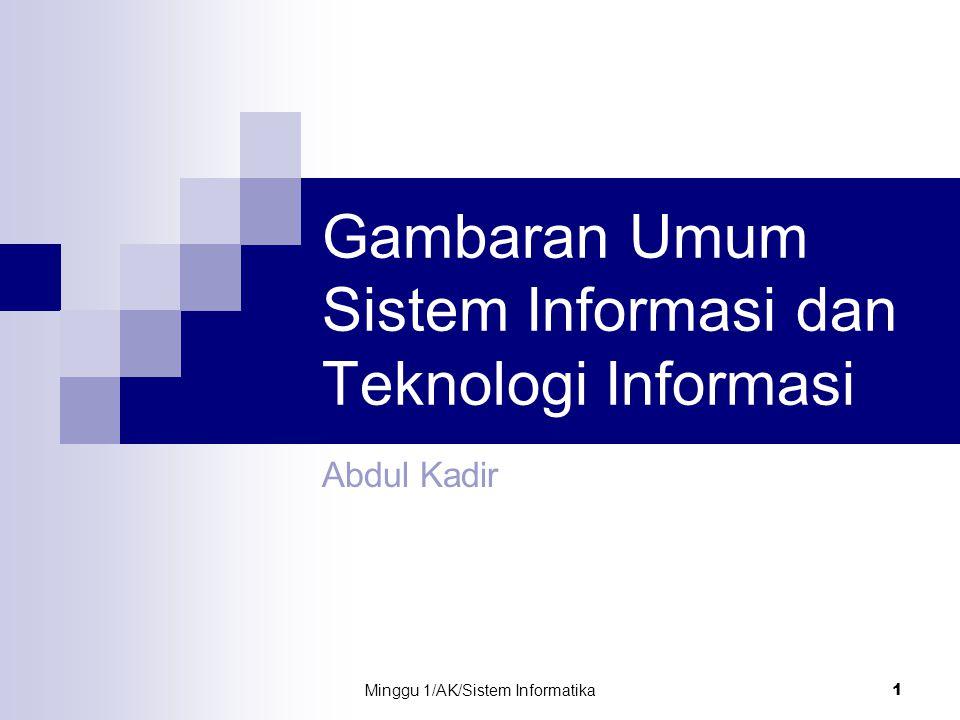 Minggu 1/AK/Sistem Informatika 1 Gambaran Umum Sistem Informasi dan Teknologi Informasi Abdul Kadir
