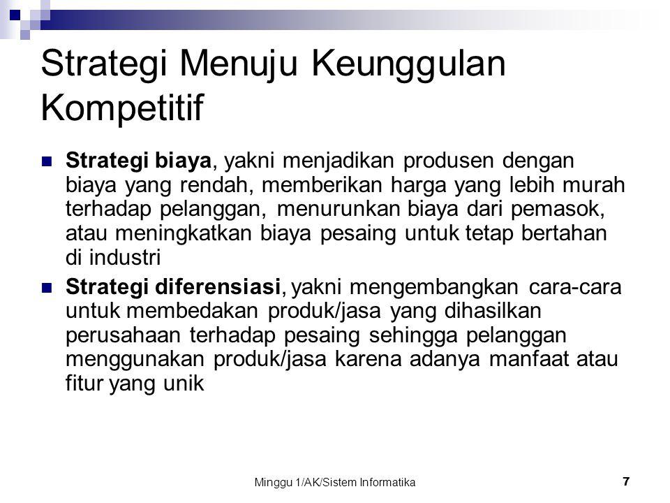 Minggu 1/AK/Sistem Informatika 7 Strategi Menuju Keunggulan Kompetitif Strategi biaya, yakni menjadikan produsen dengan biaya yang rendah, memberikan