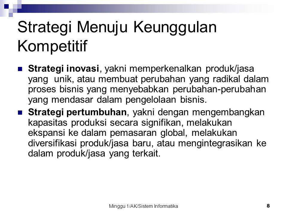 Minggu 1/AK/Sistem Informatika 8 Strategi Menuju Keunggulan Kompetitif Strategi inovasi, yakni memperkenalkan produk/jasa yang unik, atau membuat peru