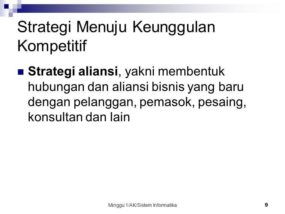 Minggu 1/AK/Sistem Informatika 9 Strategi Menuju Keunggulan Kompetitif Strategi aliansi, yakni membentuk hubungan dan aliansi bisnis yang baru dengan