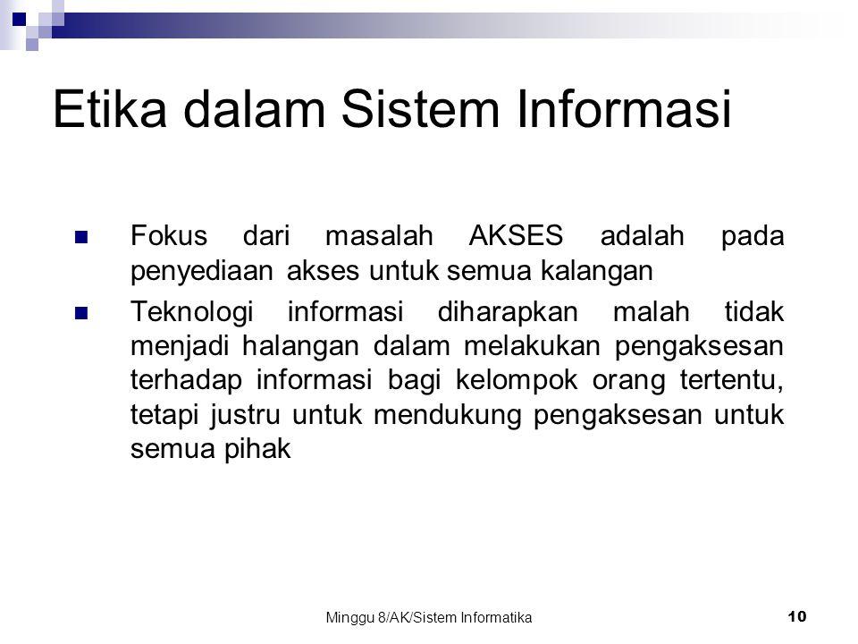 Minggu 8/AK/Sistem Informatika10 Etika dalam Sistem Informasi Fokus dari masalah AKSES adalah pada penyediaan akses untuk semua kalangan Teknologi inf