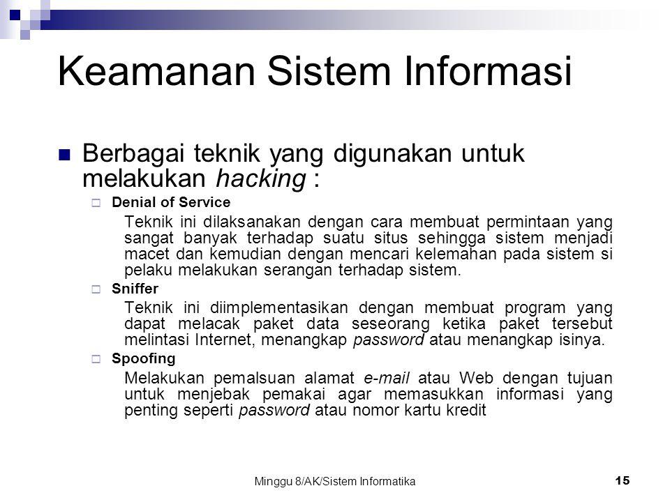 Minggu 8/AK/Sistem Informatika15 Keamanan Sistem Informasi Berbagai teknik yang digunakan untuk melakukan hacking :  Denial of Service Teknik ini dil