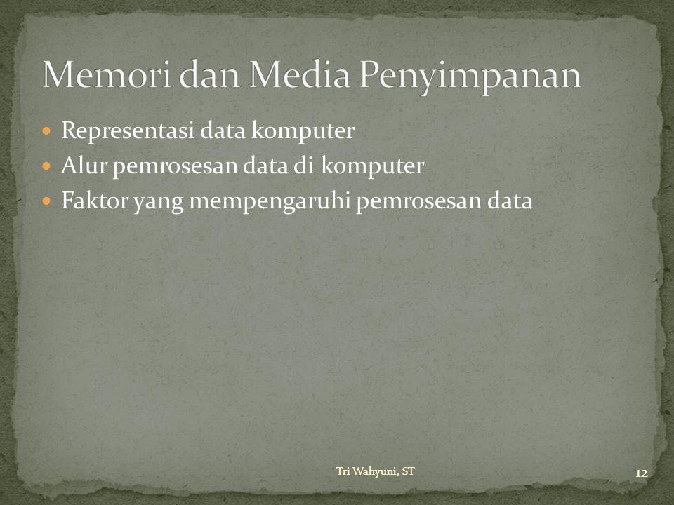 Representasi data komputer Alur pemrosesan data di komputer Faktor yang mempengaruhi pemrosesan data 12 Tri Wahyuni, ST