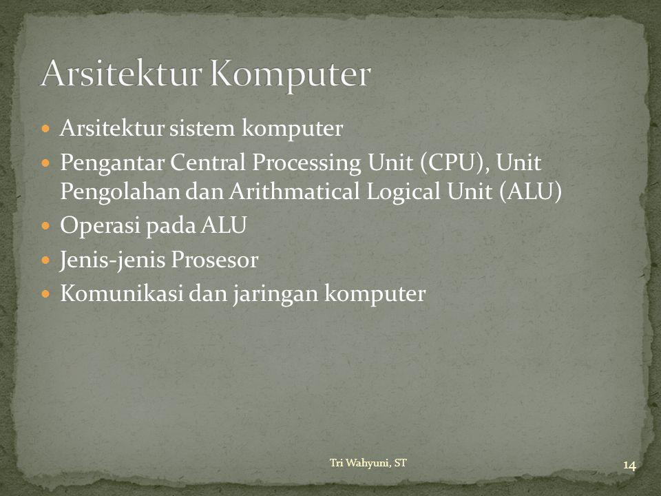Arsitektur sistem komputer Pengantar Central Processing Unit (CPU), Unit Pengolahan dan Arithmatical Logical Unit (ALU) Operasi pada ALU Jenis-jenis P