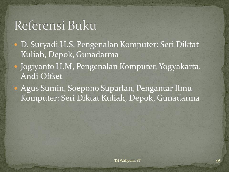 D. Suryadi H.S, Pengenalan Komputer: Seri Diktat Kuliah, Depok, Gunadarma Jogiyanto H.M, Pengenalan Komputer, Yogyakarta, Andi Offset Agus Sumin, Soep