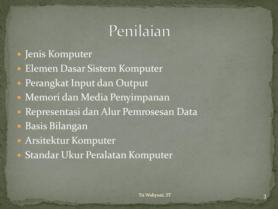 Jenis Komputer Elemen Dasar Sistem Komputer Perangkat Input dan Output Memori dan Media Penyimpanan Representasi dan Alur Pemrosesan Data Basis Bilang