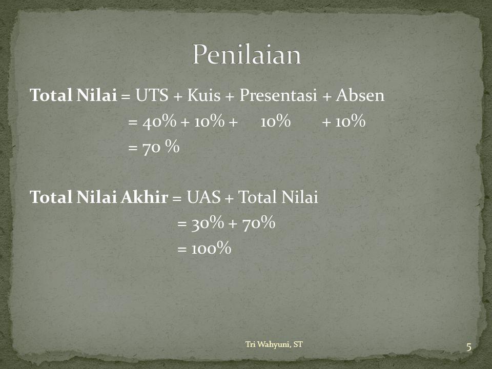 Total Nilai = UTS + Kuis + Presentasi + Absen = 40% + 10% + 10% + 10% = 70 % Total Nilai Akhir = UAS + Total Nilai = 30% + 70% = 100% 5 Tri Wahyuni, S