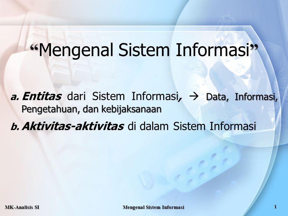 """"""" Mengenal Sistem Informasi"""" a. Entitas dari Sistem Informasi,  D DD Data, Informasi, Pengetahuan, dan kebijaksanaan b. Aktivitas-aktivitas di dalam"""