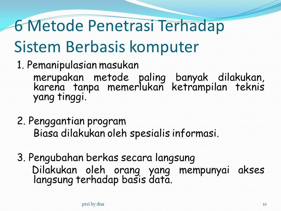 6 Metode Penetrasi Terhadap Sistem Berbasis komputer 1. Pemanipulasian masukan merupakan metode paling banyak dilakukan, karena tanpa memerlukan ketra