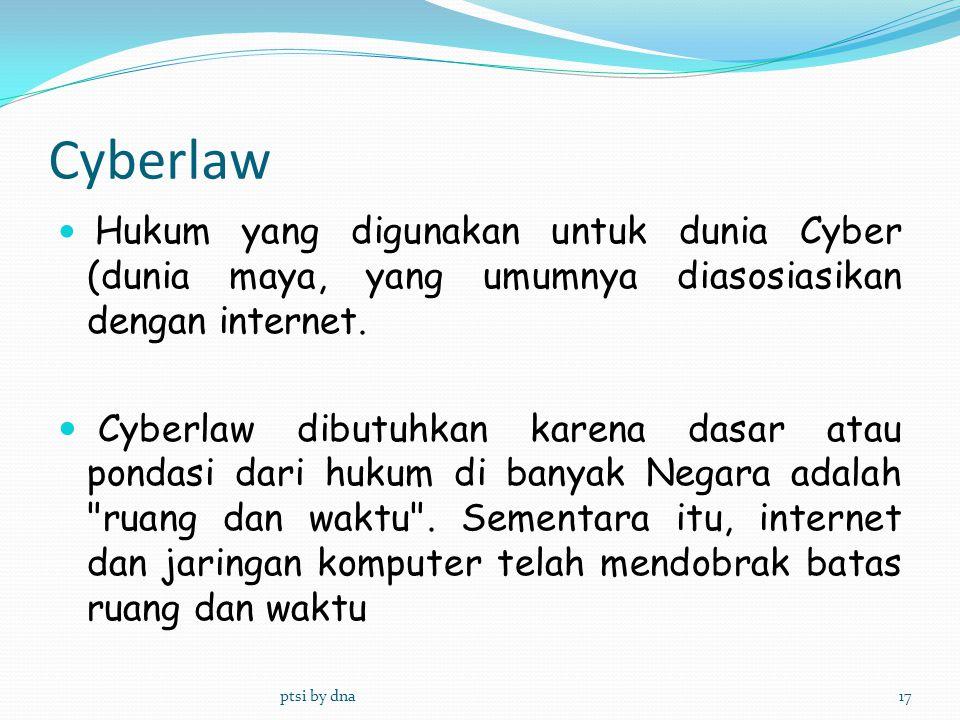 Hukum yang digunakan untuk dunia Cyber (dunia maya, yang umumnya diasosiasikan dengan internet. Cyberlaw dibutuhkan karena dasar atau pondasi dari huk