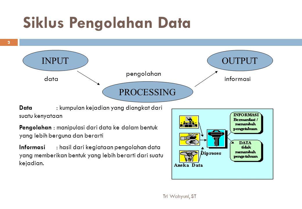 Siklus Pengolahan Data INPUT PROCESSING OUTPUT datainformasi pengolahan Data : kumpulan kejadian yang diangkat dari suatu kenyataan Pengolahan : manip