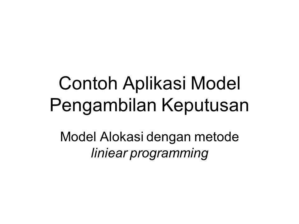 Contoh Aplikasi Model Pengambilan Keputusan Model Alokasi dengan metode liniear programming