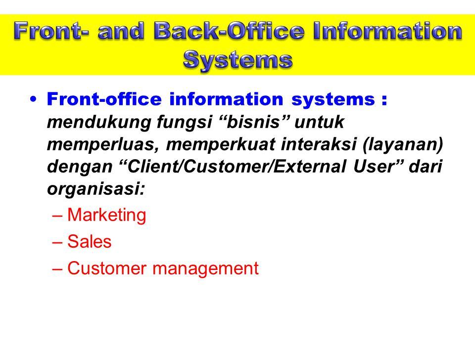 Front-office information systems : mendukung fungsi bisnis untuk memperluas, memperkuat interaksi (layanan) dengan Client/Customer/External User dari organisasi: –Marketing –Sales –Customer management