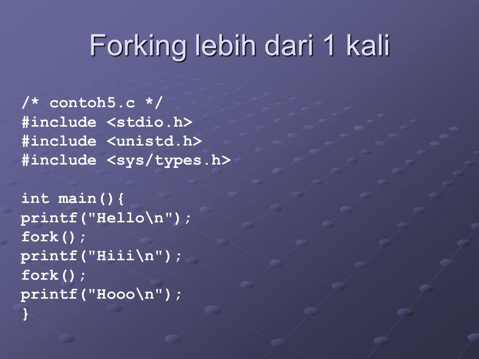Forking lebih dari 1 kali /* contoh5.c */ #include int main(){ printf( Hello\n ); fork(); printf( Hiii\n ); fork(); printf( Hooo\n ); }