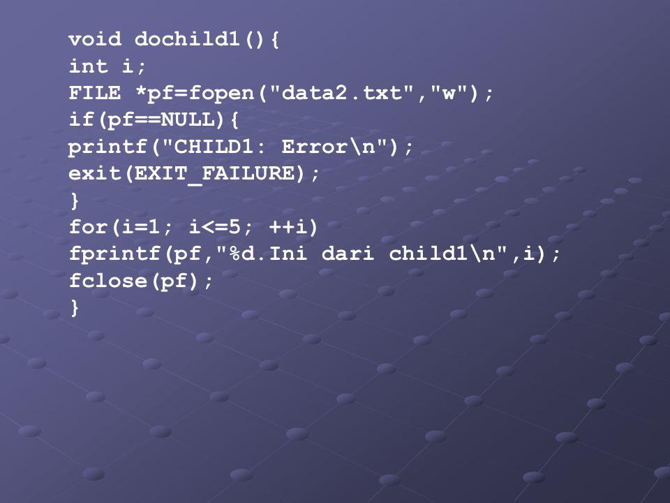 void dochild1(){ int i; FILE *pf=fopen( data2.txt , w ); if(pf==NULL){ printf( CHILD1: Error\n ); exit(EXIT_FAILURE); } for(i=1; i<=5; ++i) fprintf(pf, %d.Ini dari child1\n ,i); fclose(pf); }