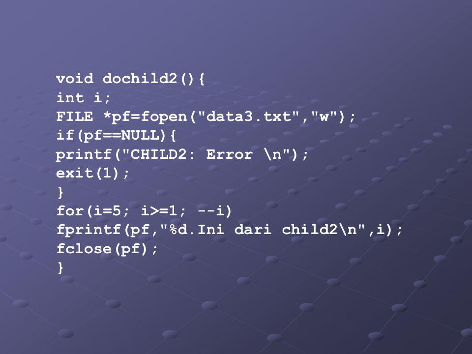 void dochild2(){ int i; FILE *pf=fopen( data3.txt , w ); if(pf==NULL){ printf( CHILD2: Error \n ); exit(1); } for(i=5; i>=1; --i) fprintf(pf, %d.Ini dari child2\n ,i); fclose(pf); }