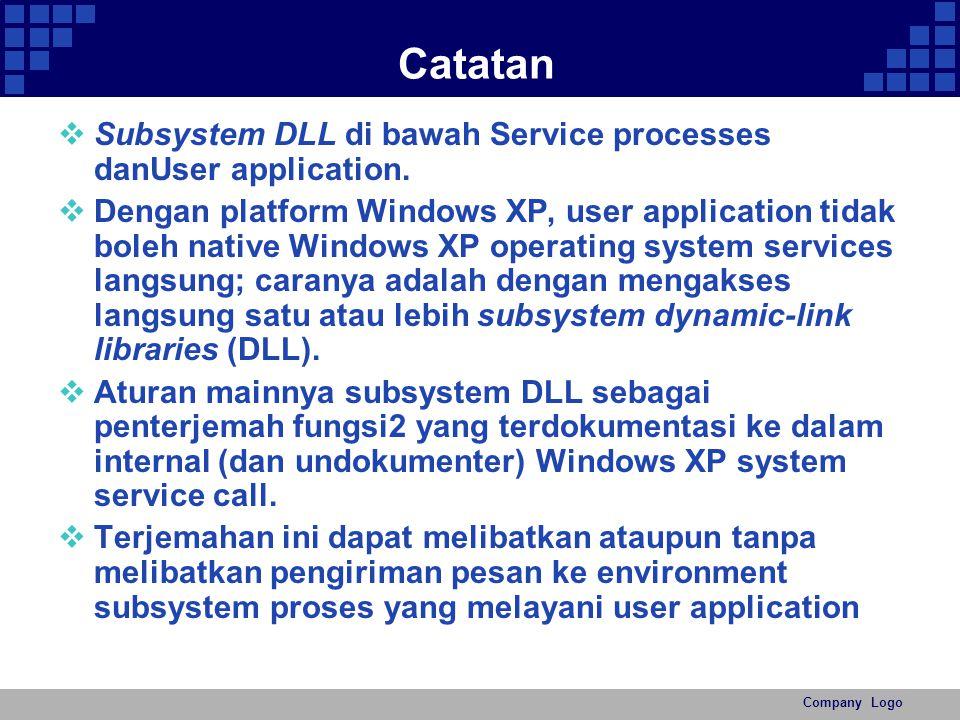 Company Logo Catatan  Subsystem DLL di bawah Service processes danUser application.  Dengan platform Windows XP, user application tidak boleh native