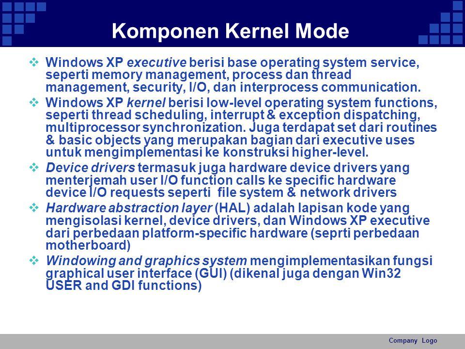 Company Logo Komponen Kernel Mode  Windows XP executive berisi base operating system service, seperti memory management, process dan thread managemen