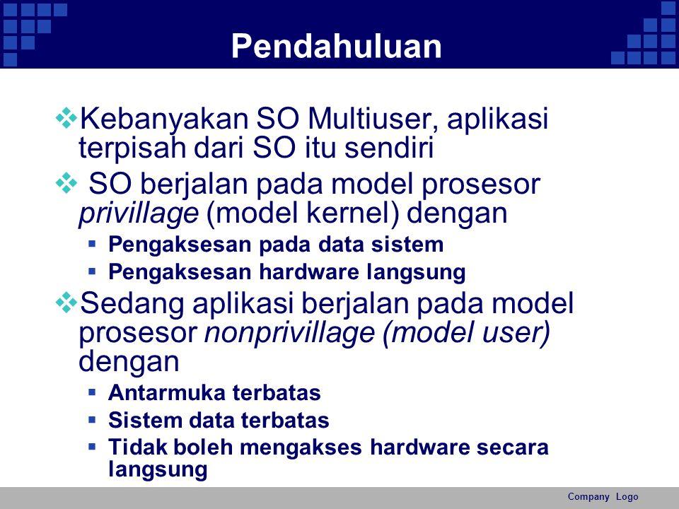 Company Logo Pendahuluan  Kebanyakan SO Multiuser, aplikasi terpisah dari SO itu sendiri  SO berjalan pada model prosesor privillage (model kernel)