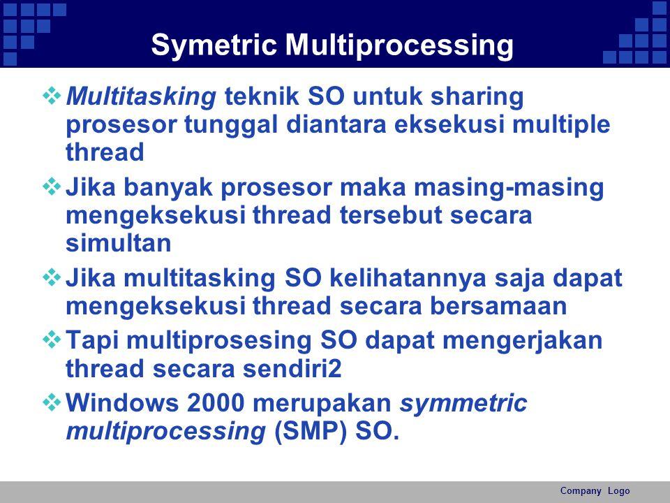 Company Logo Symetric Multiprocessing  Multitasking teknik SO untuk sharing prosesor tunggal diantara eksekusi multiple thread  Jika banyak prosesor