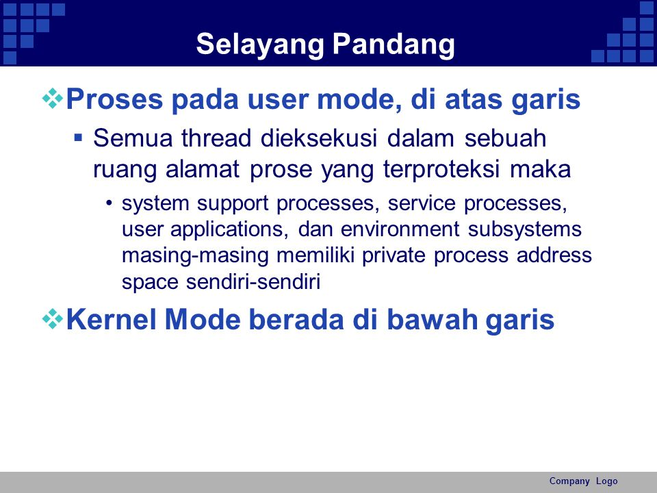 Company Logo Diagram system support processes service processes user applications private process address space sendiri-sendiri user applications