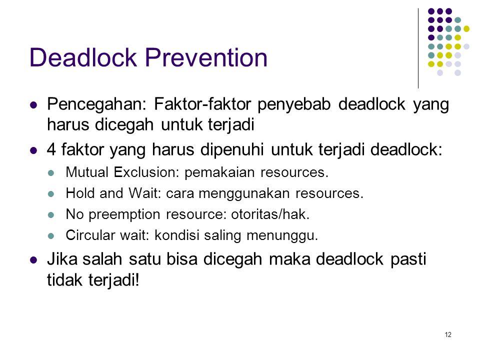 12 Deadlock Prevention Pencegahan: Faktor-faktor penyebab deadlock yang harus dicegah untuk terjadi 4 faktor yang harus dipenuhi untuk terjadi deadloc