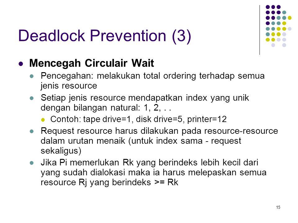 15 Deadlock Prevention (3) Mencegah Circulair Wait Pencegahan: melakukan total ordering terhadap semua jenis resource Setiap jenis resource mendapatkan index yang unik dengan bilangan natural: 1, 2,..