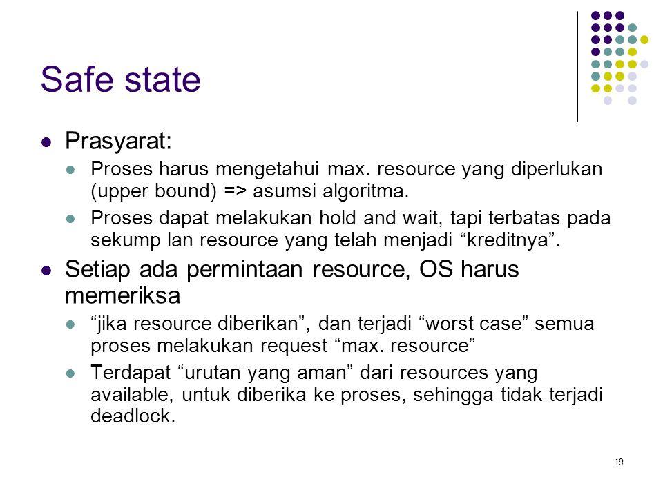 19 Safe state Prasyarat: Proses harus mengetahui max. resource yang diperlukan (upper bound) => asumsi algoritma. Proses dapat melakukan hold and wait