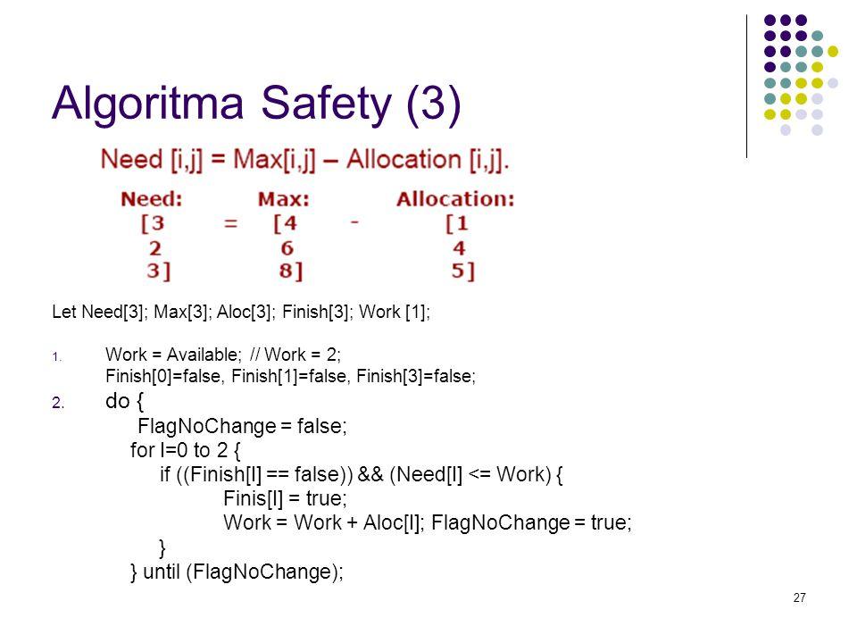 27 Algoritma Safety (3) Let Need[3]; Max[3]; Aloc[3]; Finish[3]; Work [1]; 1. Work = Available; // Work = 2; Finish[0]=false, Finish[1]=false, Finish[
