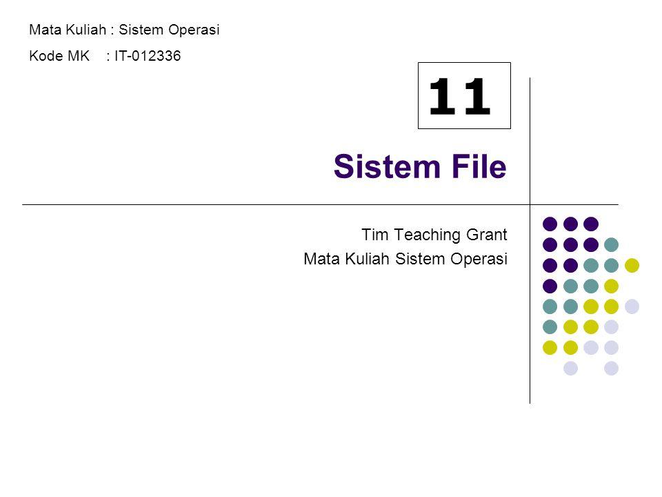 Sistem File Tim Teaching Grant Mata Kuliah Sistem Operasi Mata Kuliah : Sistem Operasi Kode MK : IT-012336 11