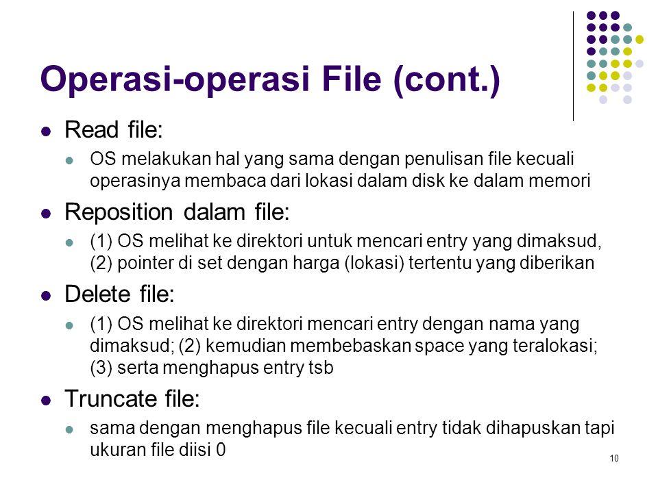 10 Operasi-operasi File (cont.) Read file: OS melakukan hal yang sama dengan penulisan file kecuali operasinya membaca dari lokasi dalam disk ke dalam