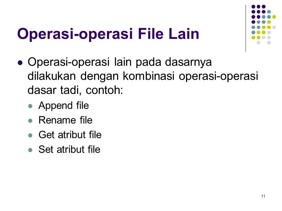 11 Operasi-operasi File Lain Operasi-operasi lain pada dasarnya dilakukan dengan kombinasi operasi-operasi dasar tadi, contoh: Append file Rename file