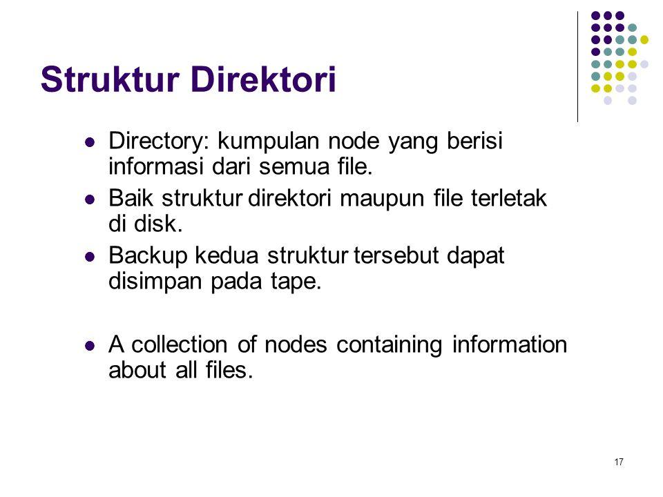 17 Struktur Direktori Directory: kumpulan node yang berisi informasi dari semua file. Baik struktur direktori maupun file terletak di disk. Backup ked