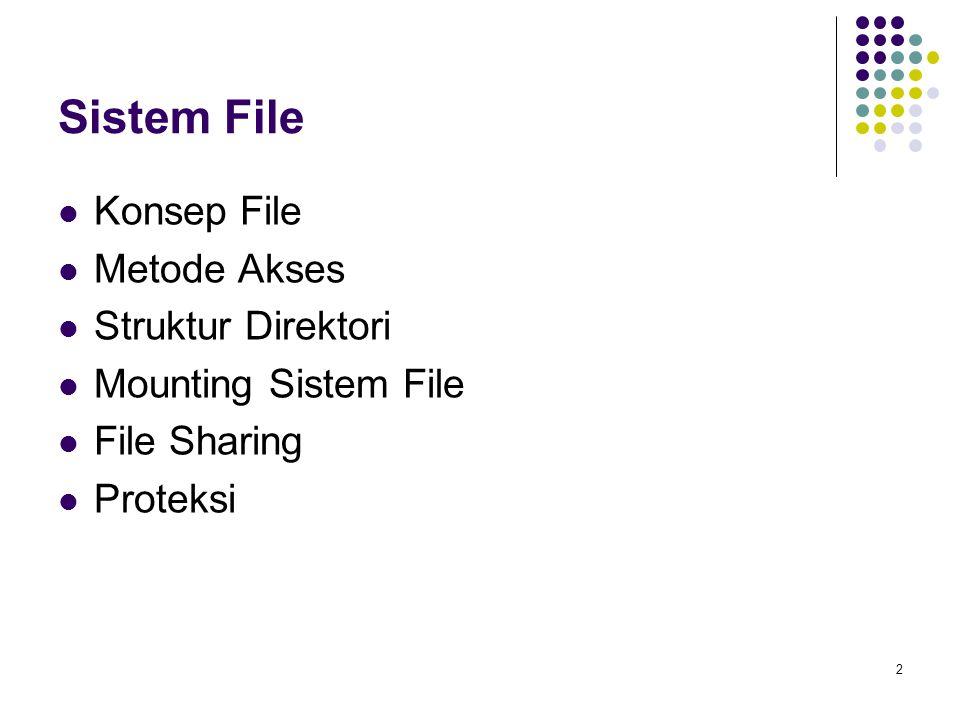 2 Sistem File Konsep File Metode Akses Struktur Direktori Mounting Sistem File File Sharing Proteksi