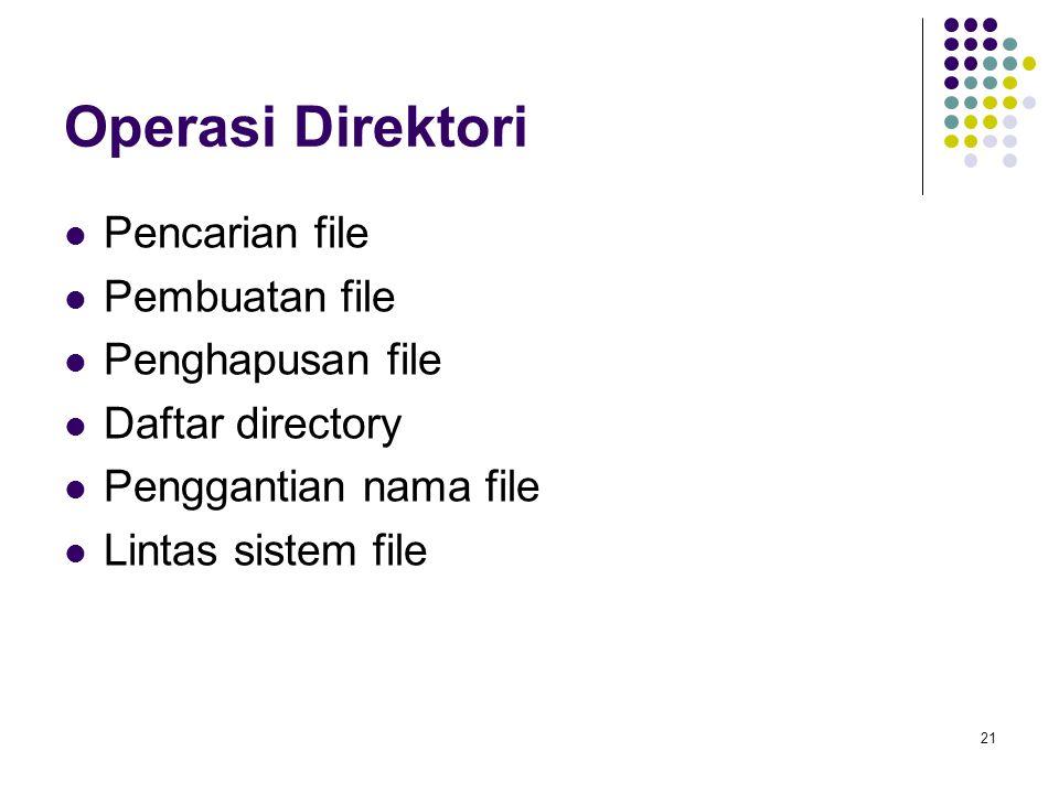 21 Operasi Direktori Pencarian file Pembuatan file Penghapusan file Daftar directory Penggantian nama file Lintas sistem file