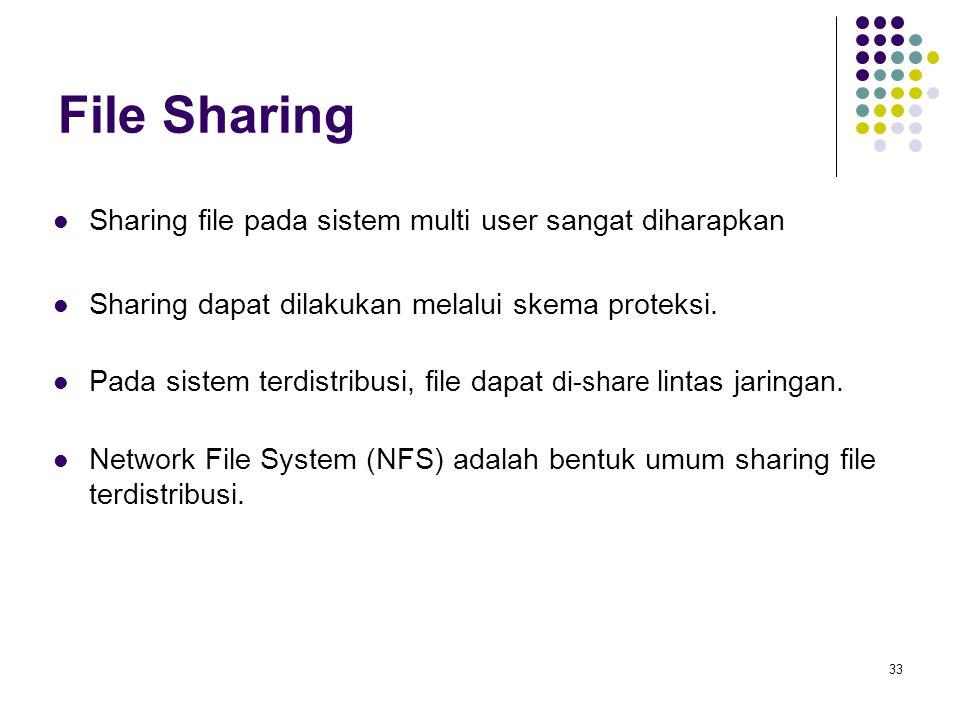 33 File Sharing Sharing file pada sistem multi user sangat diharapkan Sharing dapat dilakukan melalui skema proteksi. Pada sistem terdistribusi, file