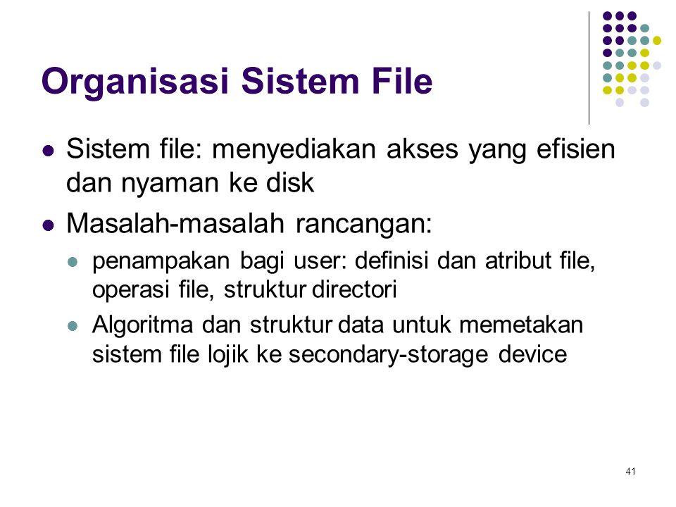 41 Organisasi Sistem File Sistem file: menyediakan akses yang efisien dan nyaman ke disk Masalah-masalah rancangan: penampakan bagi user: definisi dan