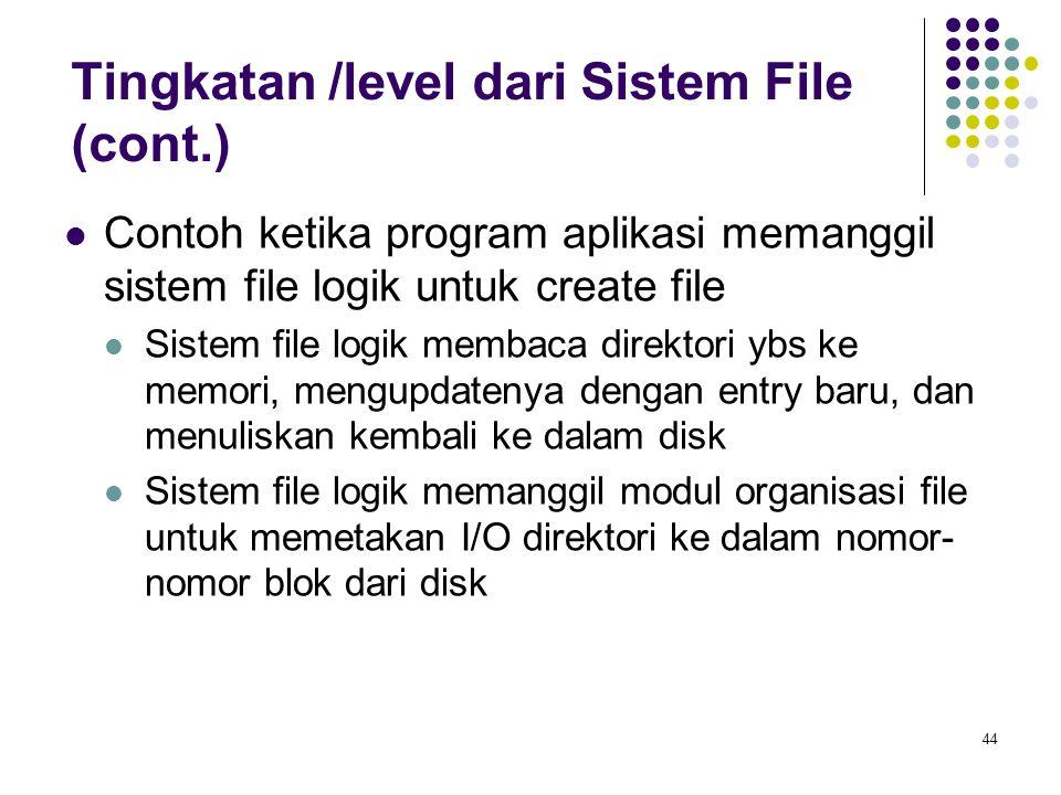 44 Contoh ketika program aplikasi memanggil sistem file logik untuk create file Sistem file logik membaca direktori ybs ke memori, mengupdatenya denga