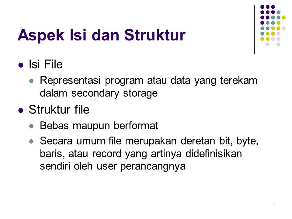 5 Aspek Isi dan Struktur Isi File Representasi program atau data yang terekam dalam secondary storage Struktur file Bebas maupun berformat Secara umum
