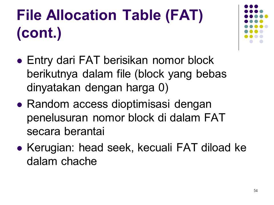 54 File Allocation Table (FAT) (cont.) Entry dari FAT berisikan nomor block berikutnya dalam file (block yang bebas dinyatakan dengan harga 0) Random