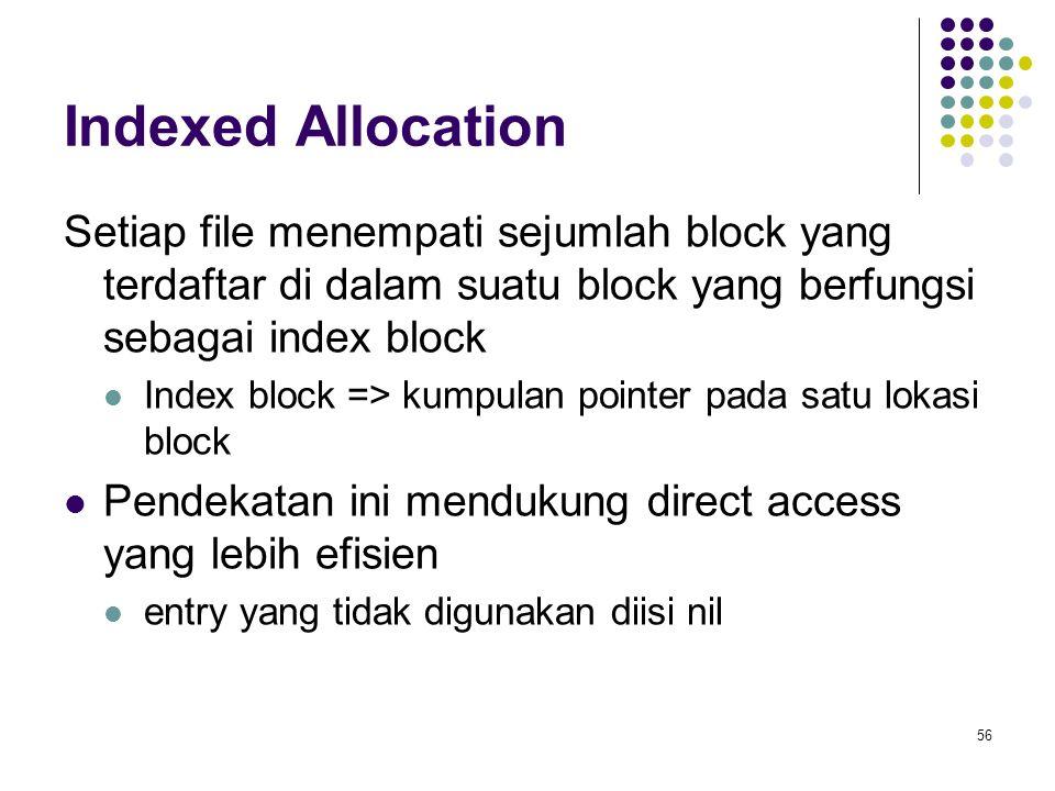 56 Indexed Allocation Setiap file menempati sejumlah block yang terdaftar di dalam suatu block yang berfungsi sebagai index block Index block => kumpu