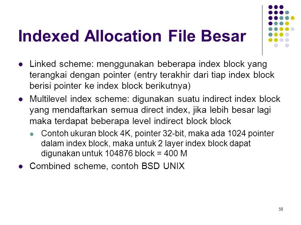 58 Indexed Allocation File Besar Linked scheme: menggunakan beberapa index block yang terangkai dengan pointer (entry terakhir dari tiap index block b