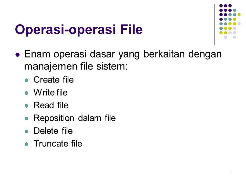 8 Operasi-operasi File Enam operasi dasar yang berkaitan dengan manajemen file sistem: Create file Write file Read file Reposition dalam file Delete f