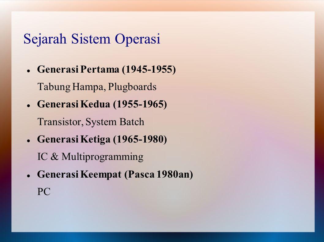 Sejarah Sistem Operasi Generasi Pertama (1945-1955) Tabung Hampa, Plugboards Generasi Kedua (1955-1965) Transistor, System Batch Generasi Ketiga (1965