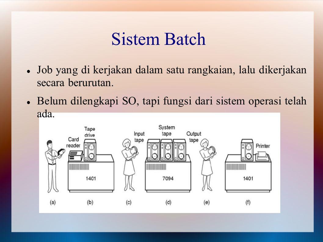Sistem Batch Job yang di kerjakan dalam satu rangkaian, lalu dikerjakan secara berurutan. Belum dilengkapi SO, tapi fungsi dari sistem operasi telah a